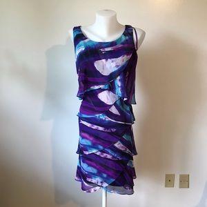 Tie Dye and Geometric Dress Purple Blue in Size 14